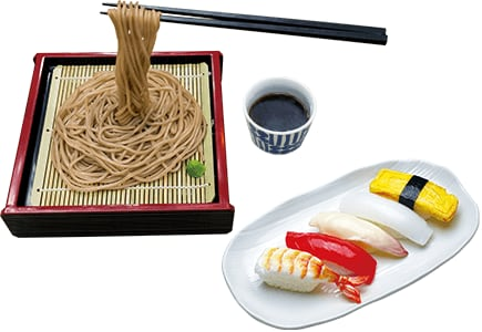 Soba and sushi food models Miniature food sample accessories