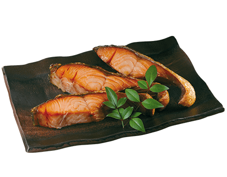 Grilled salted salmon fillets