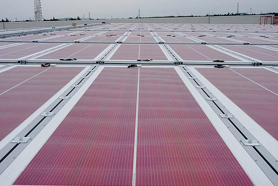 Solar panels installed on the roof of the factory