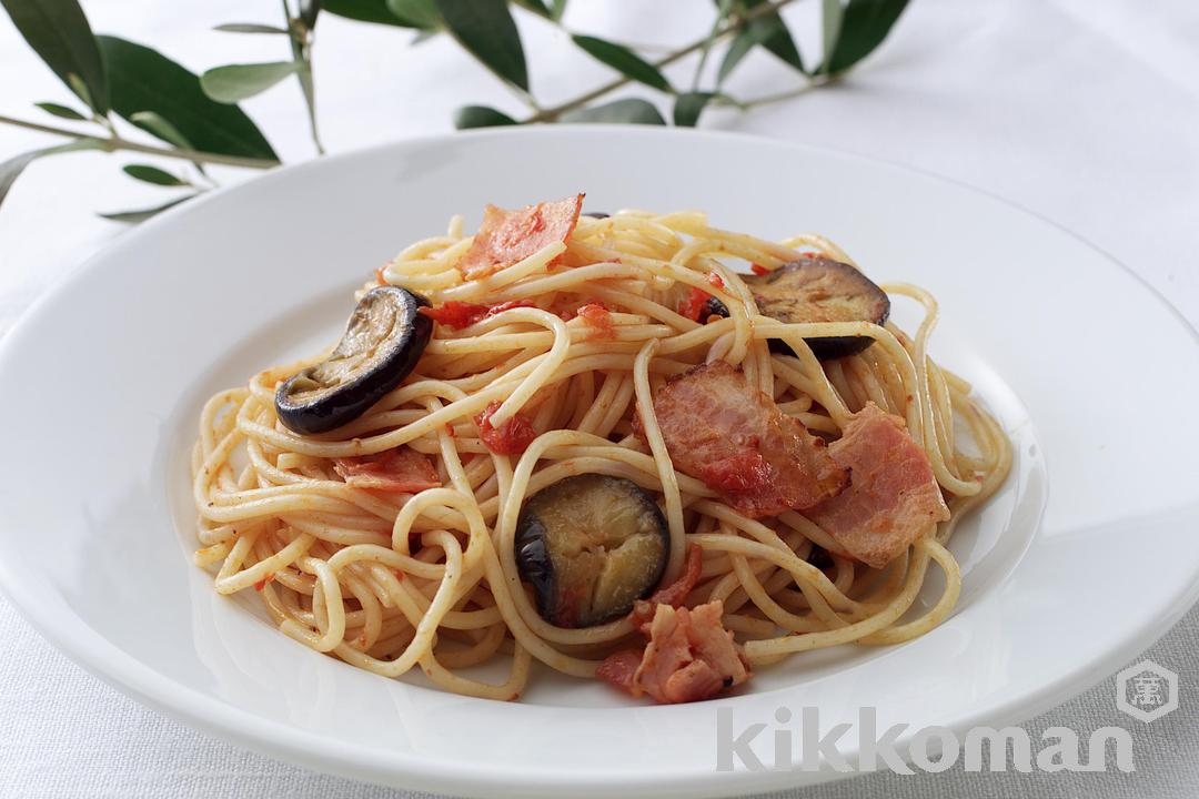 Eggplant and Bacon Tomato Pasta