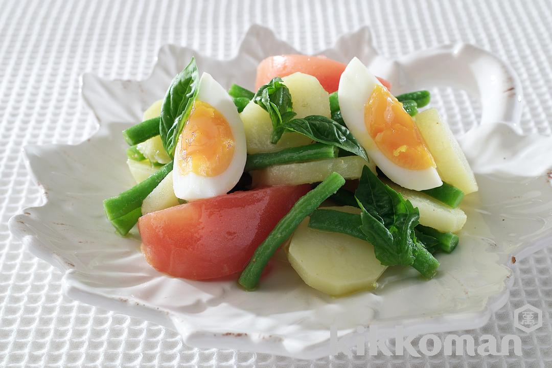 Basil Salad with Potatoes and Boiled Eggs