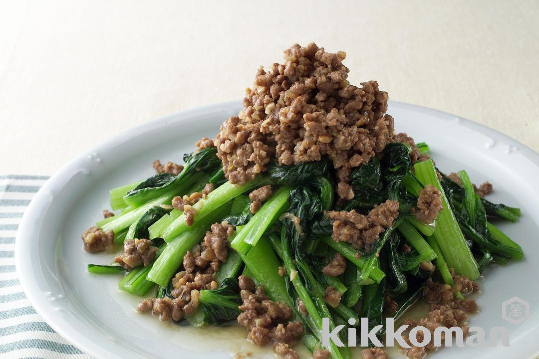 Stir-Fried Green Vegetables with Miso Meat Sauce