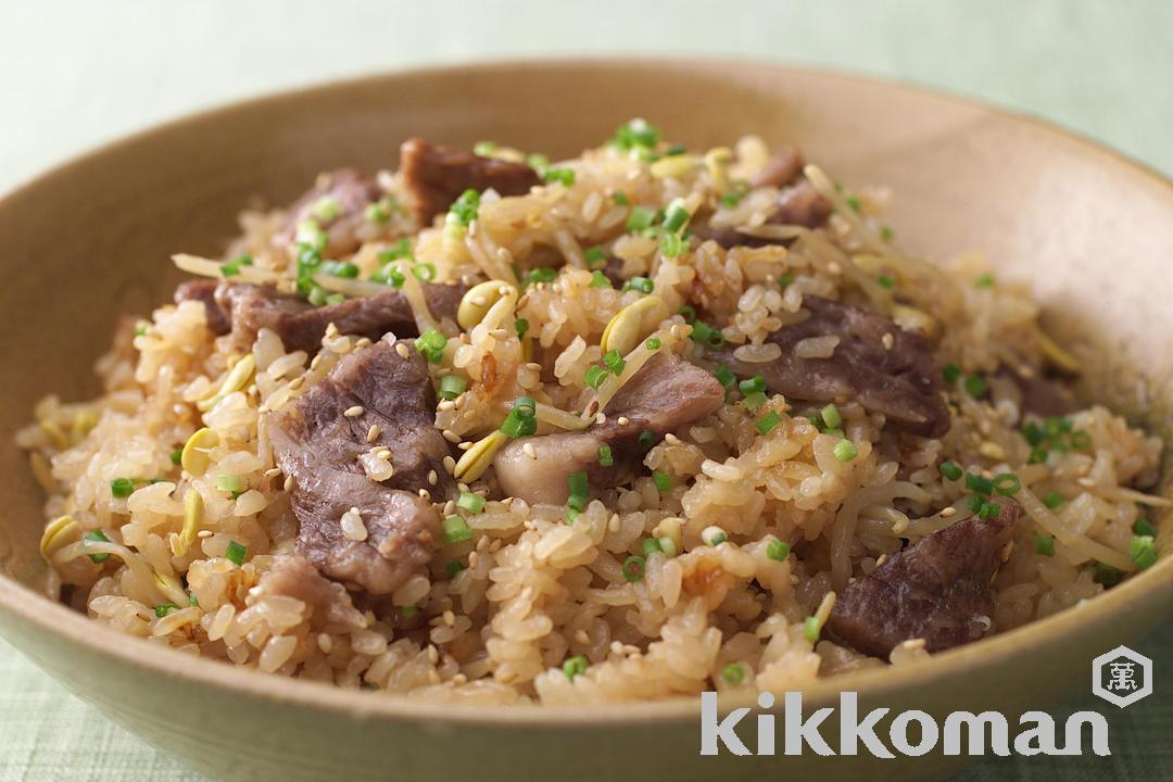 Rice with Beef and Bean Sprouts