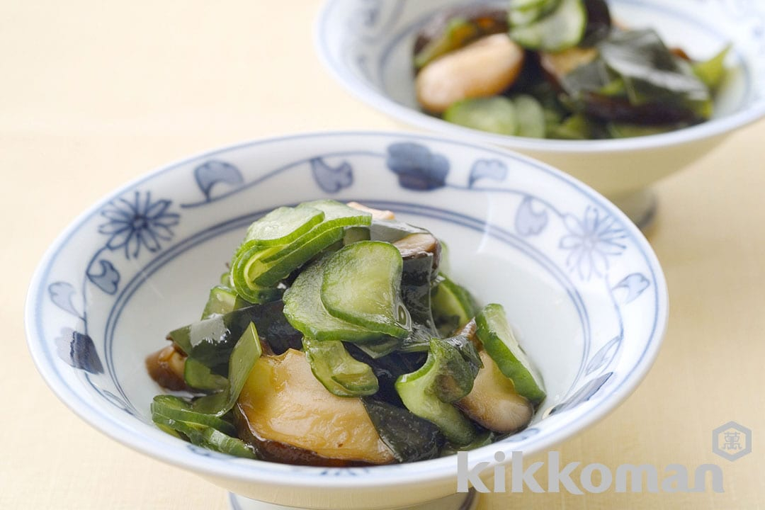 Pickled Mushrooms, Wakame Seaweed and Cucumbers
