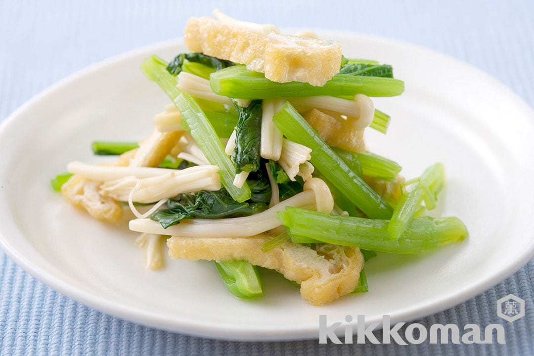 Seasoned Mustard Spinach, Enoki Mushrooms and Deep-Fried Tofu
