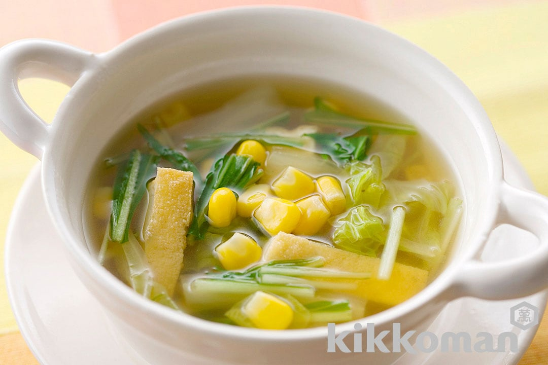 Vegetable Soup with Mizuna, Cabbage and Corn